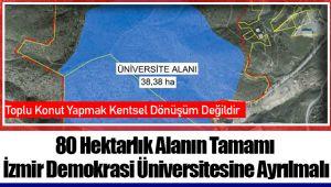 80 Hektarlık Alanın Tamamı İzmir Demokrasi Üniversitesine Ayrılmalı